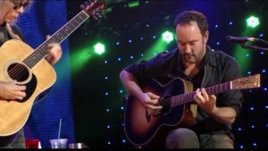 Dave Matthews perfomring with Tim Reynolds using a custom rockbridge SJ acoustic Electric Guitar in Sunburst finish