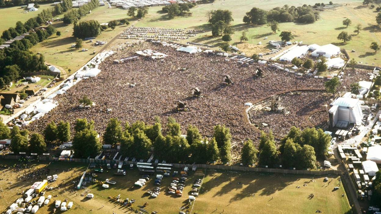 An aerial view of Oasis' 1996 gig at Knebworth. 125,000 people in attendance 2 nights in a row.
