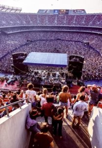 An elevated view from behind the stage for the Grateful Dead Concert at Giants Stadium on Labor Day 1978