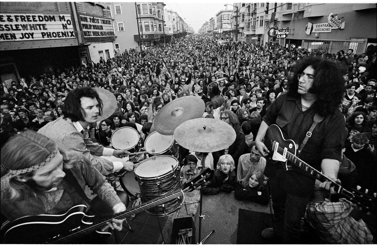 From Left to right, Phil Lesch, Bob Weir, and Jerry Garcia perform as the Gratfeul Dead in the 1980s.