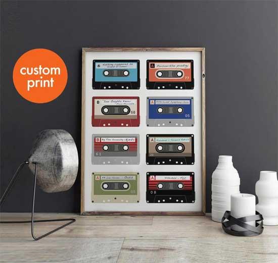 Personalized Cassette Playlist Print