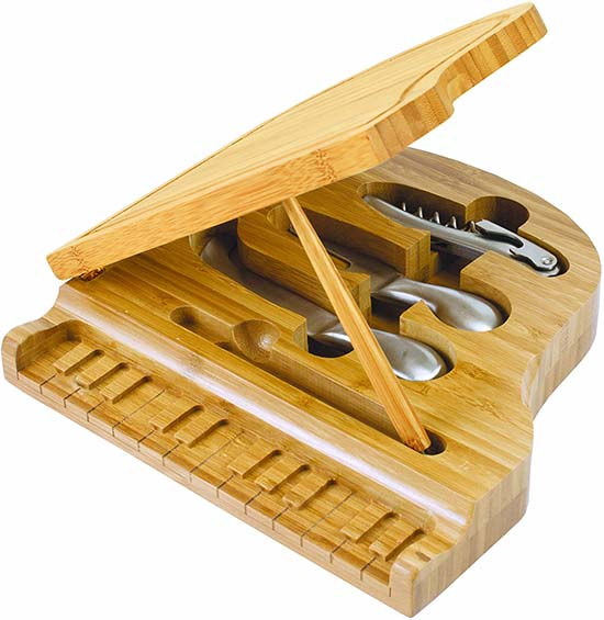 Piano shaped Cheese board with tools