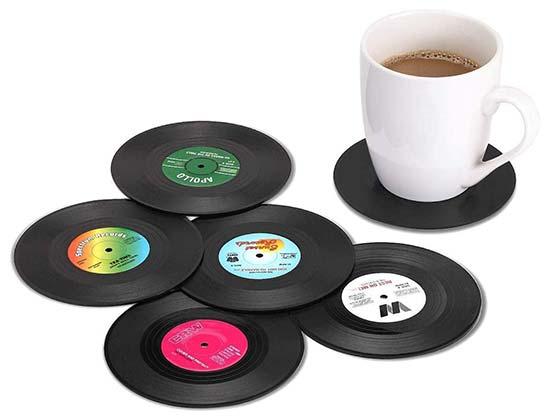 MECOWON Vinyl Record Retro Coasters