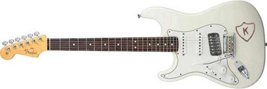 K Sticker White Stratocaster Left Handed