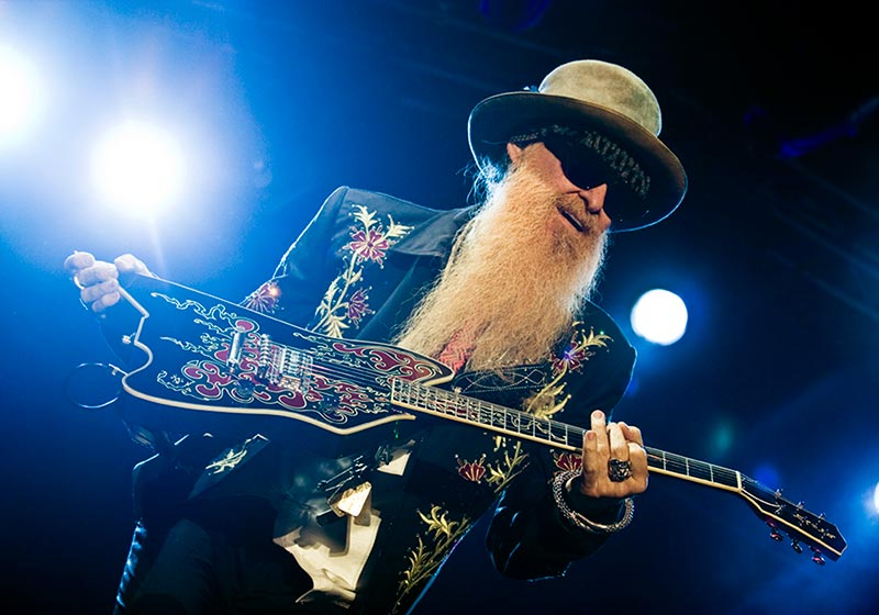Billy Gibbons Playing Guitar Live Concert