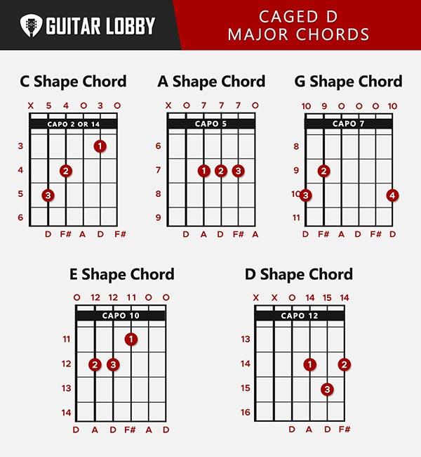 CAGED D Major Chords