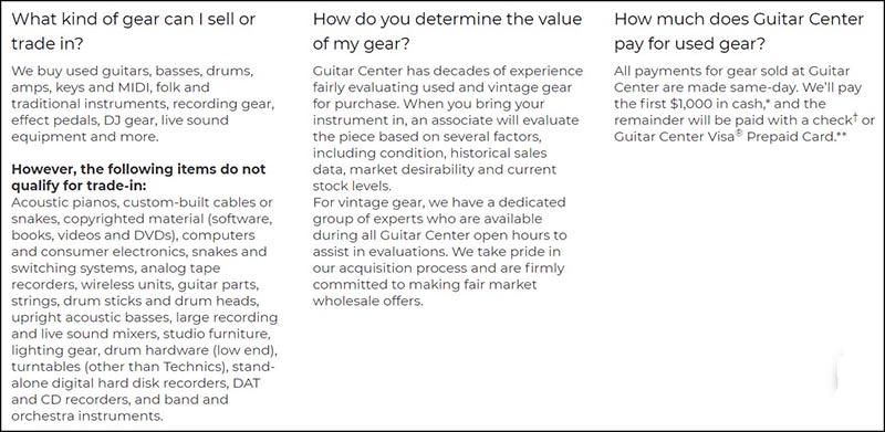 FAQ 1 Guitar Center Trade In Sell Screenshot