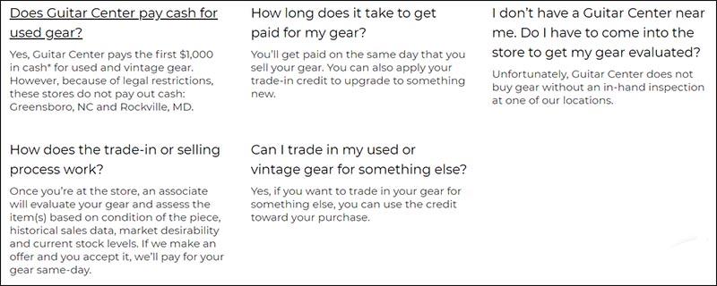 FAQ 2 Guitar Center Trade In Sell Screenshot