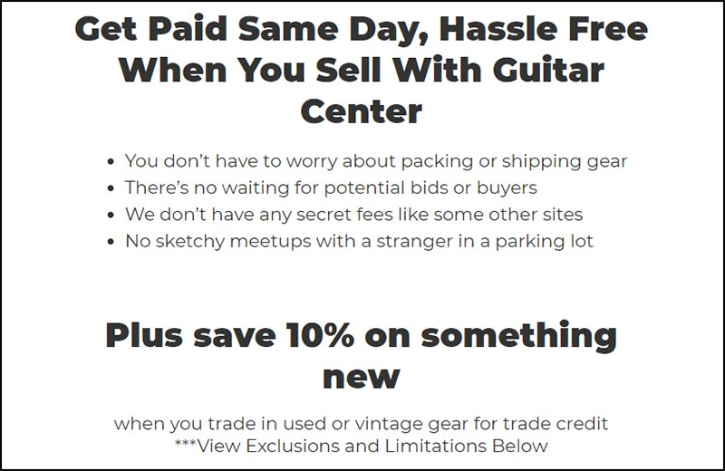 How To Get Paid For Selling Your Gear Guitar Center Screenshot
