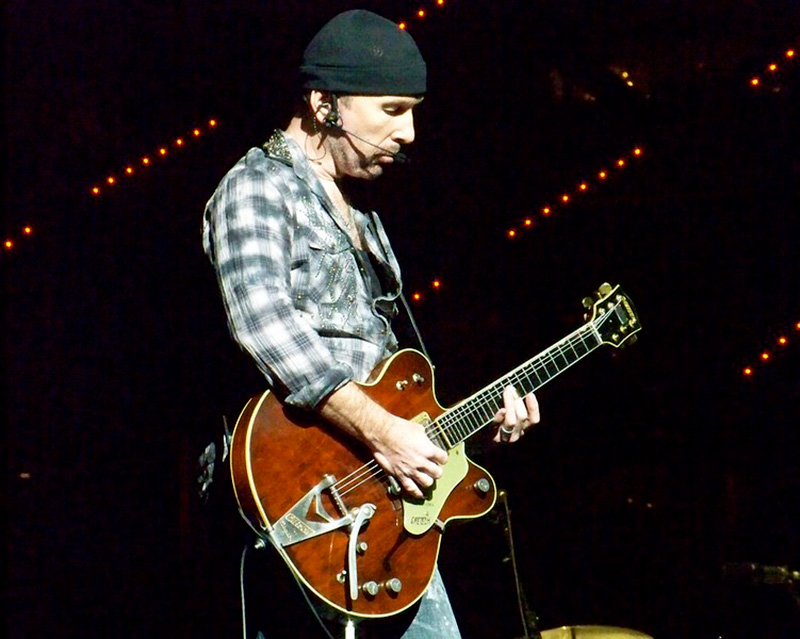The Edge Playing Guitar