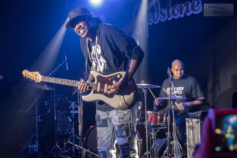 Left handed guitarist Eric Gales performing live